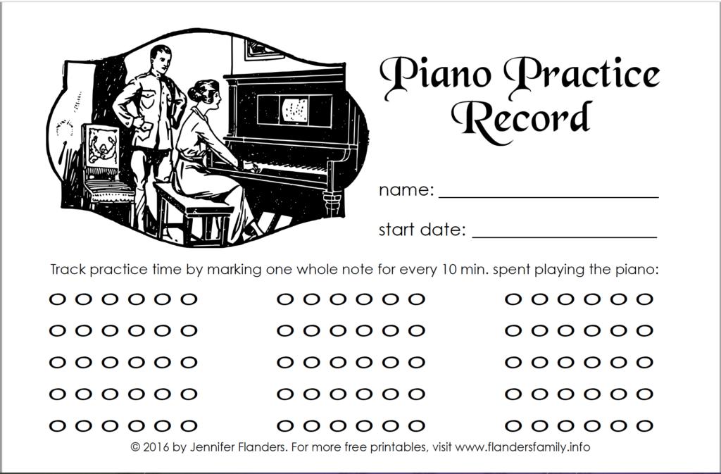 Free Printable Piano Practice Record