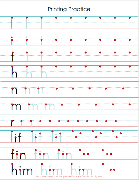 Printing Practice Sheets to help with letter reversals | from www.flandersfamily.info