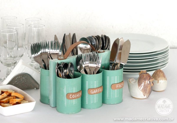Silverware Caddy made from recycled tin cans