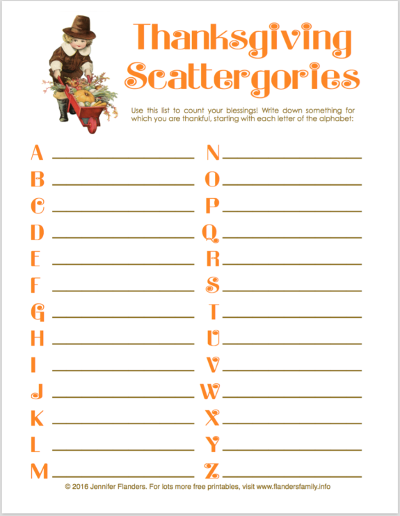 Thanksgiving Scattergories: Count Your Blessings!