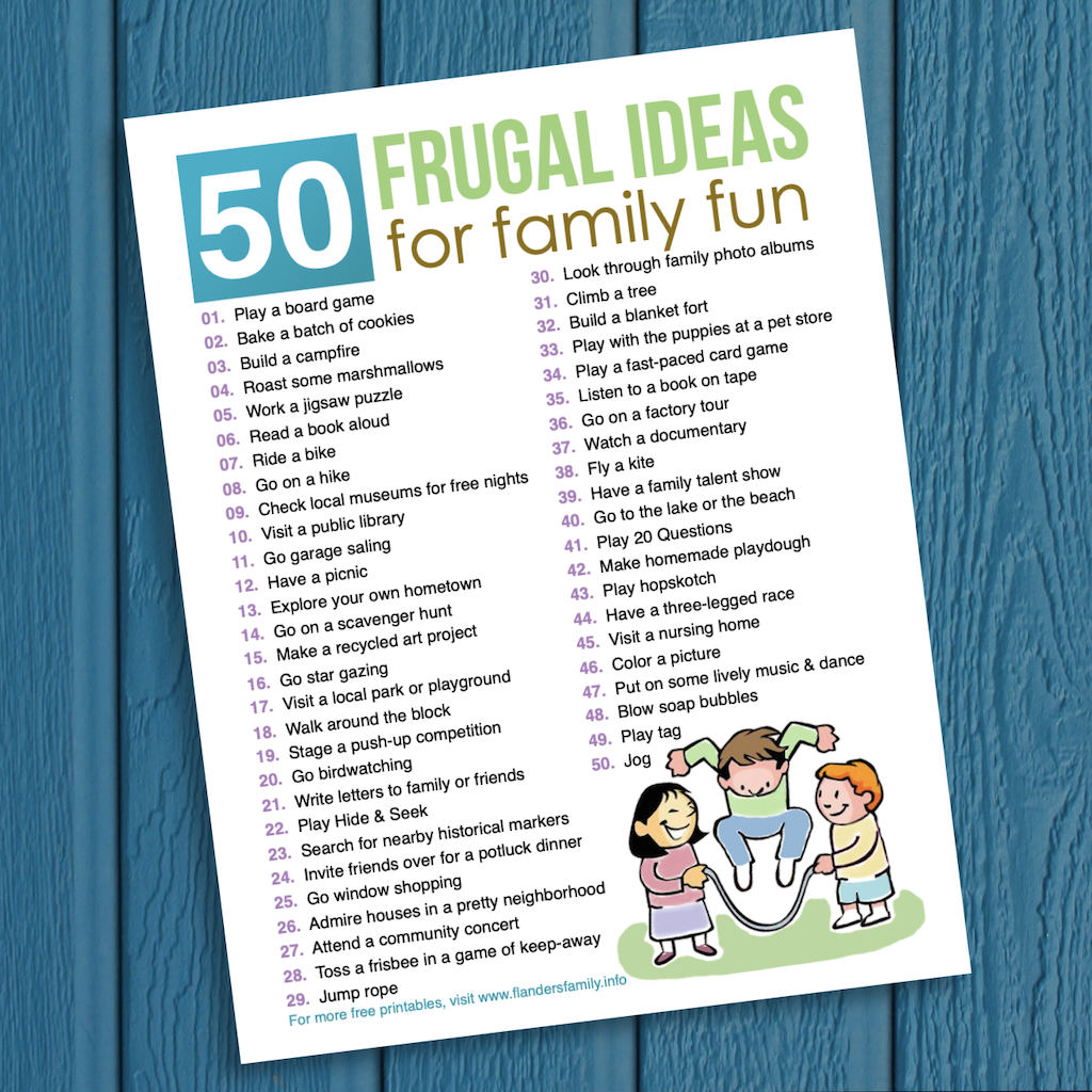 free printable bucket list of inexpensive ways to make fond memories