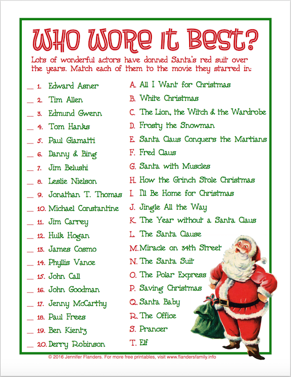 Free Printable Christmas Game - Who Wore It Best ?