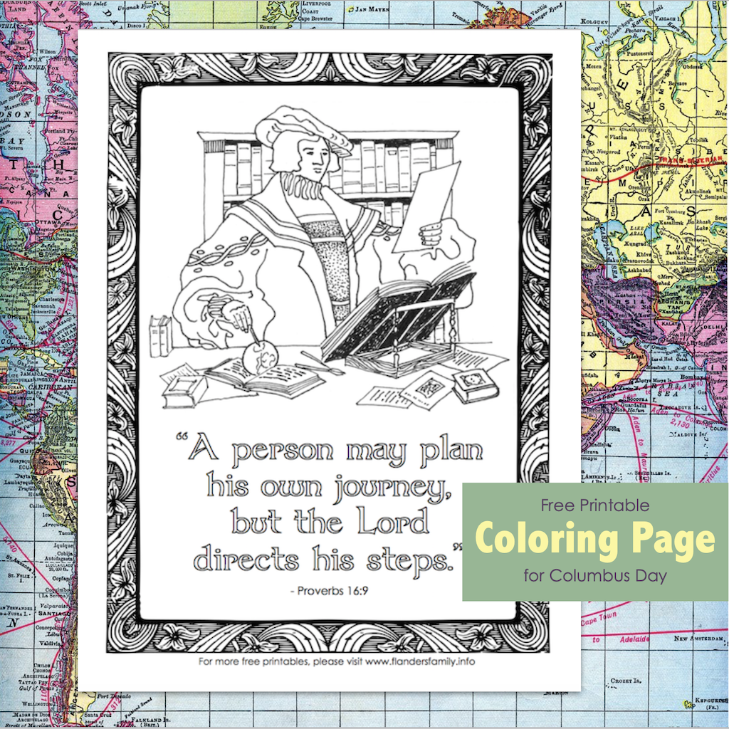 Free Printable Columbus Day Coloring Page