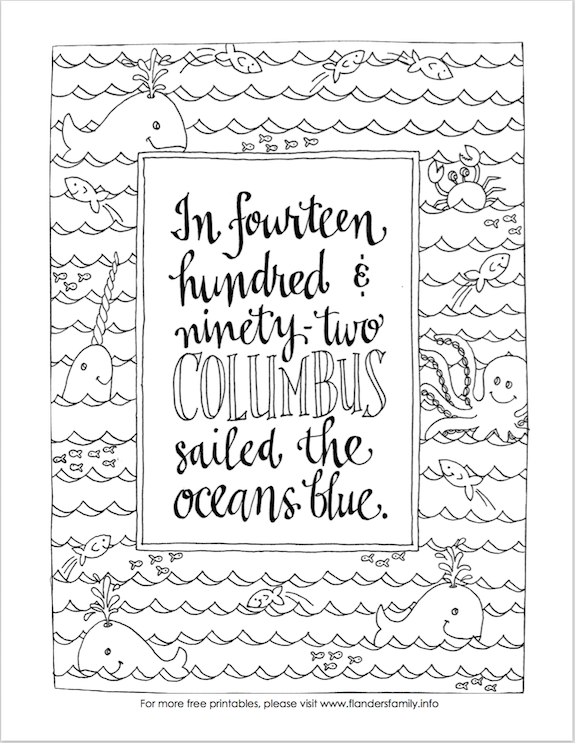 Columbus Day Coloring Page (Free Printable) - Flanders Family Homelife