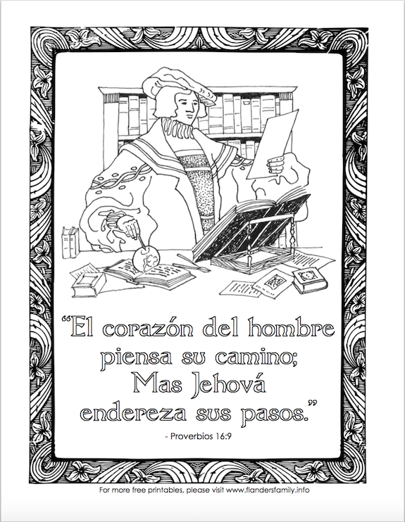 "Columbus Day Coloring Page - ""Man plans his way, but the Lord directs his steps."" (in Spanish)"