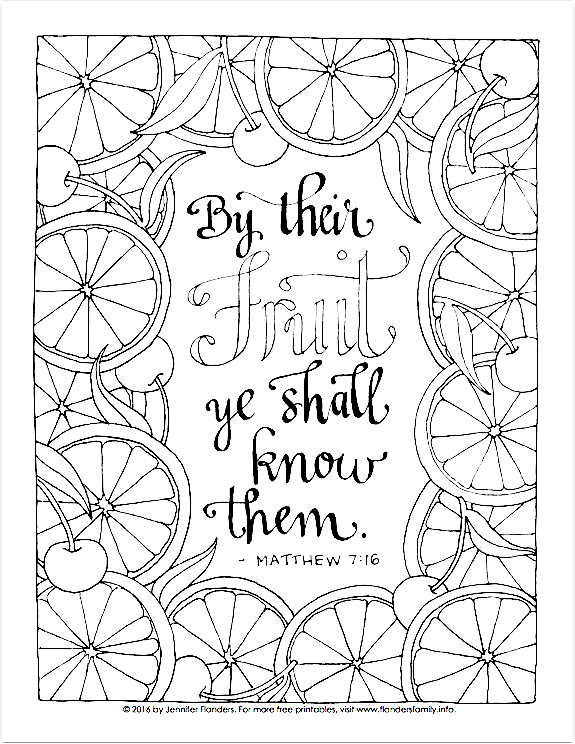 By Their Fruit Ye Shall Know Them (Coloring Page)