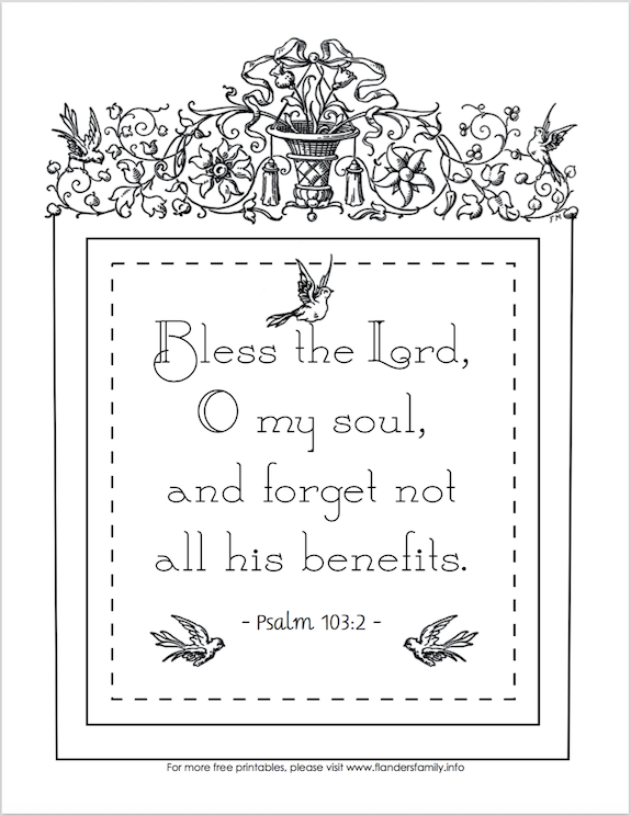 Forget Not All His Benefits - Free Printable Coloring Page