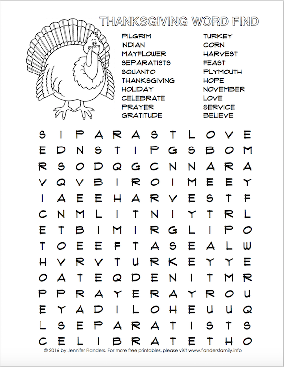 Thanksgiving Word Find (Free Printable)