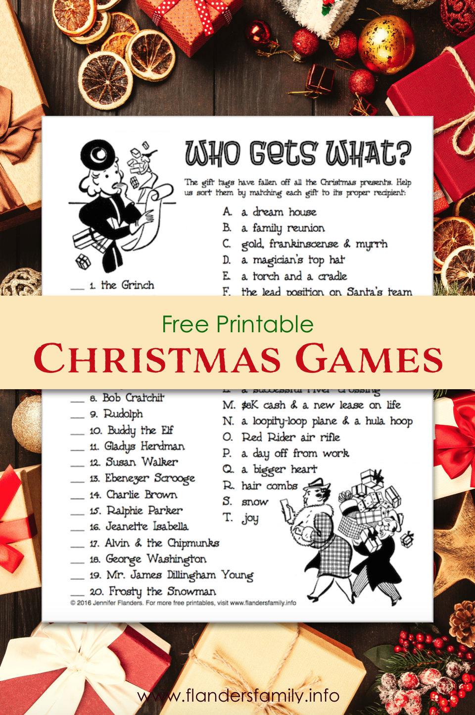 image relating to Free Printable Christmas Games for Adults named Who Gets to be What (Free of charge Printable Xmas Occasion Recreation