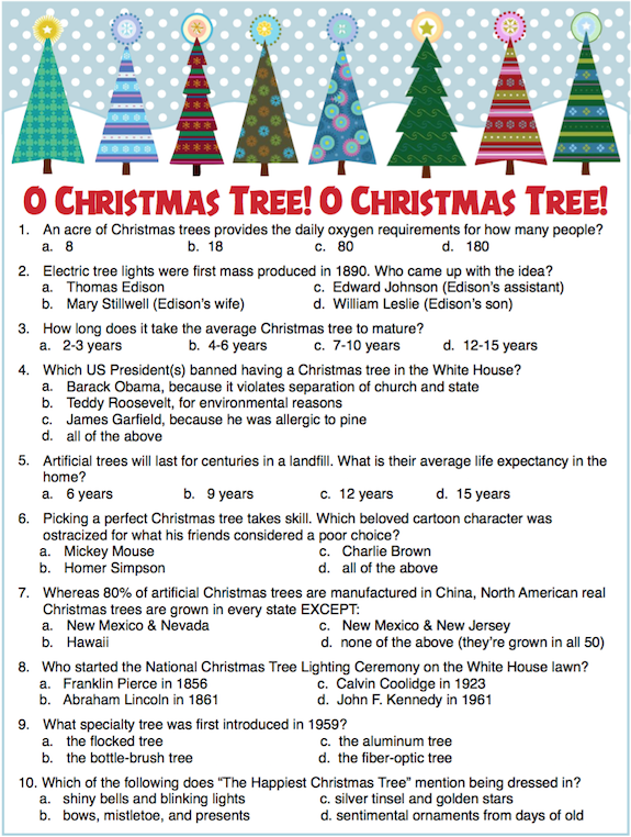 Christmas Tree Trivia Party Game Free Printable