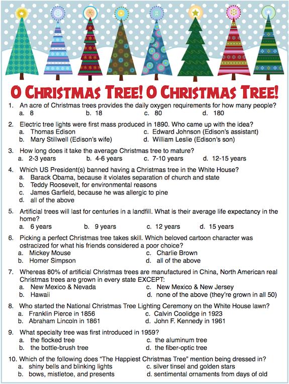Christmas Trivia Printable.Christmas Tree Trivia Party Game Free Printable Flanders