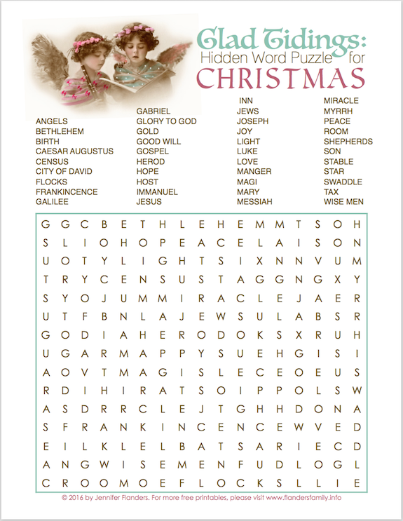Christmas word find puzzle, plus lots more free printable Christmas games from www.flandersfamily.info