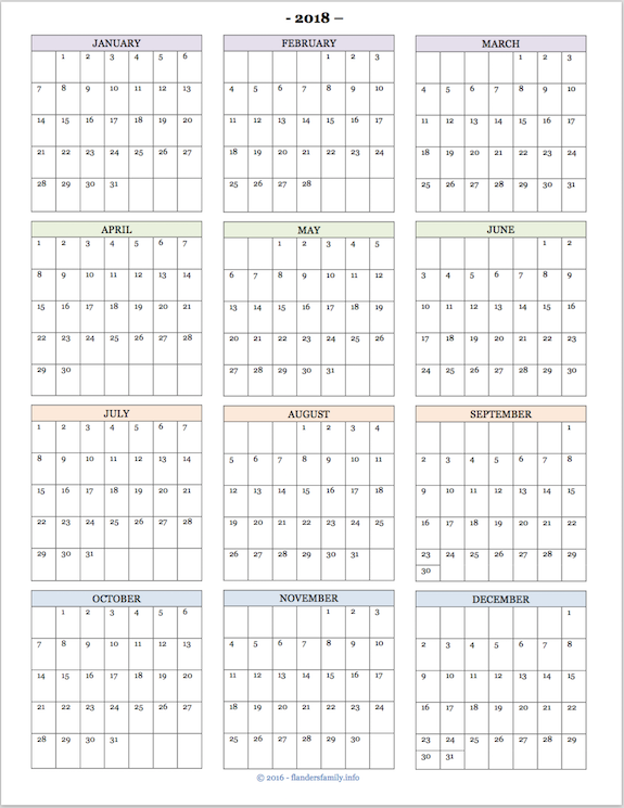 free printable 2018 year at a glance calendar