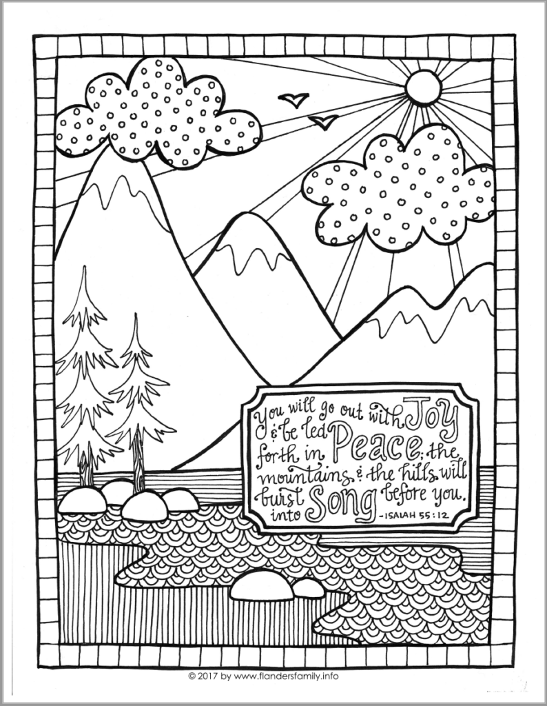 Free printable GO OUT WITH JOY coloring page