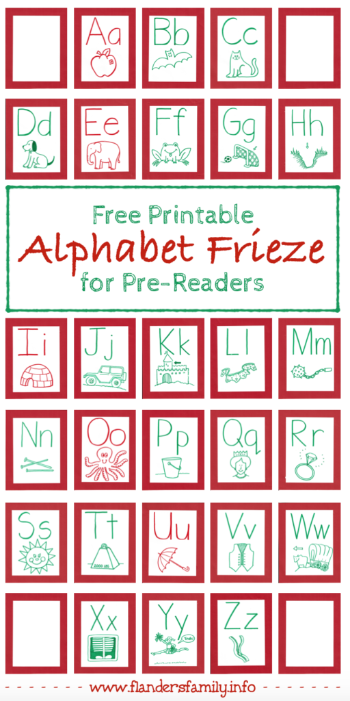 Free Printable Alphabet Frieze for Pre-Readers
