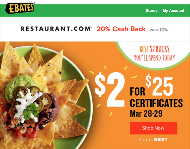 Get a $25 dining certificate from Restaurant.com for $1.60 when you shop through Ebates March 28-29. Here's how.
