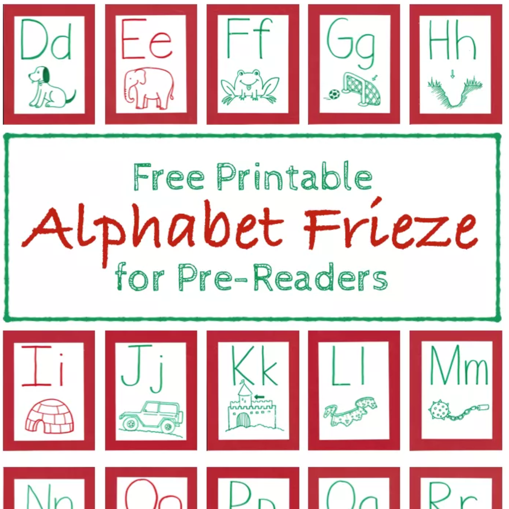Alphabet Frieze for Beginning Readers (Free Printable)