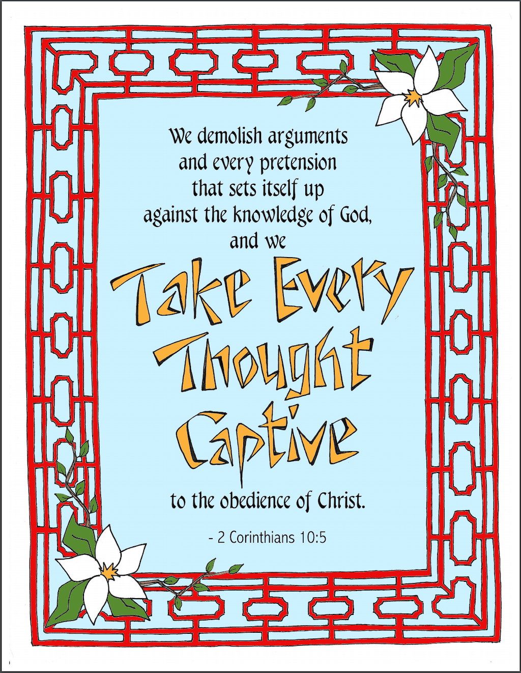 Take Every Thought Captive Coloring Page