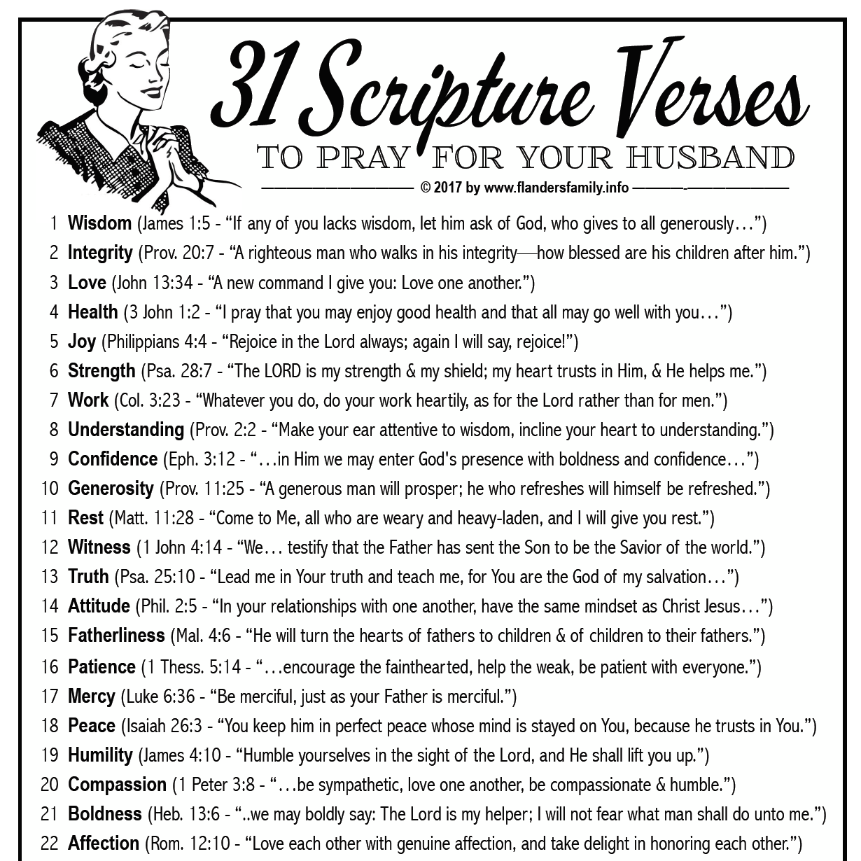 31 Verses to Pray for Your Husband (Free Printable)