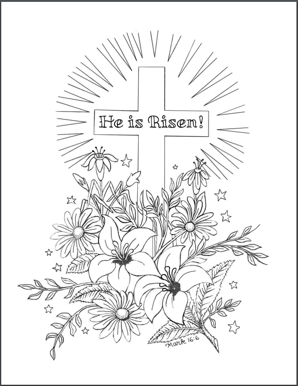 Free Mark 16.6 Coloring Page - He Is Risen