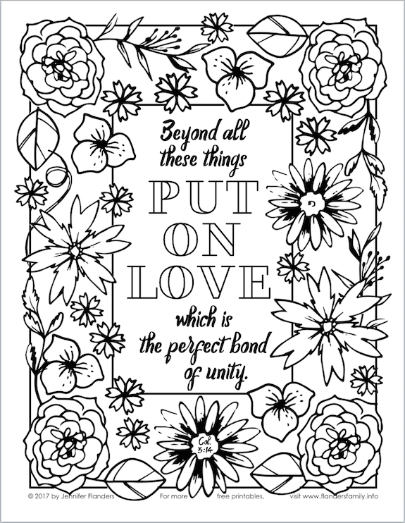 Put on Love (Coloring Page) - Flanders Family Homelife