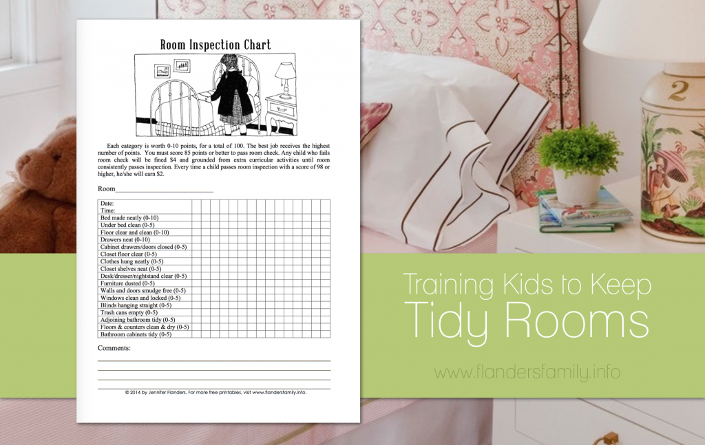 How to Train Kids to Keep Tidy Rooms | free printable inspection chart