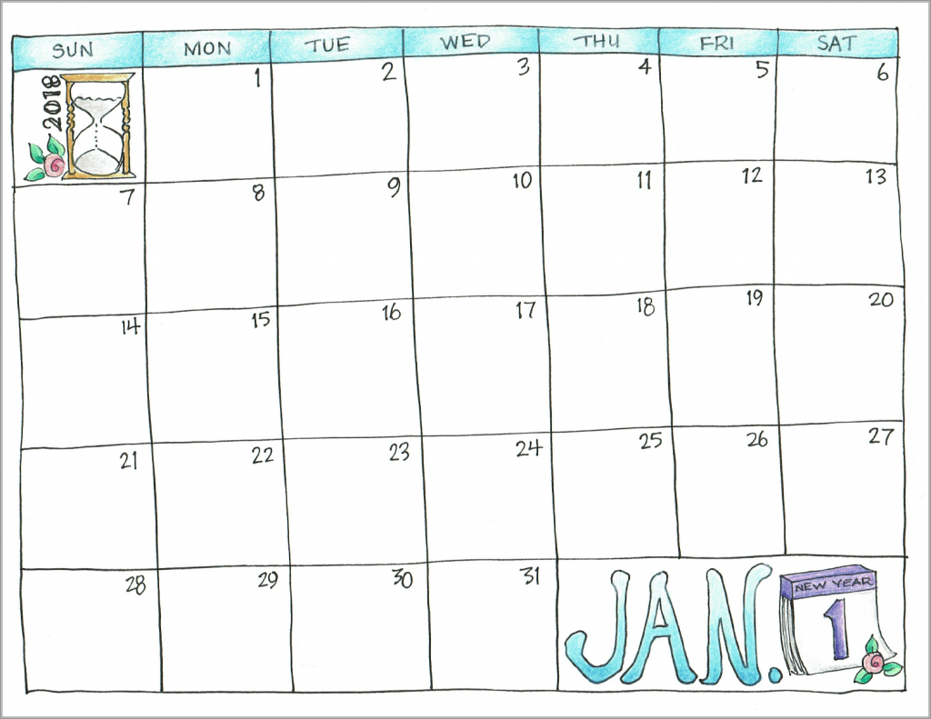 free printable hand-drawn calendar for 2018 -- great for micro-journaling!
