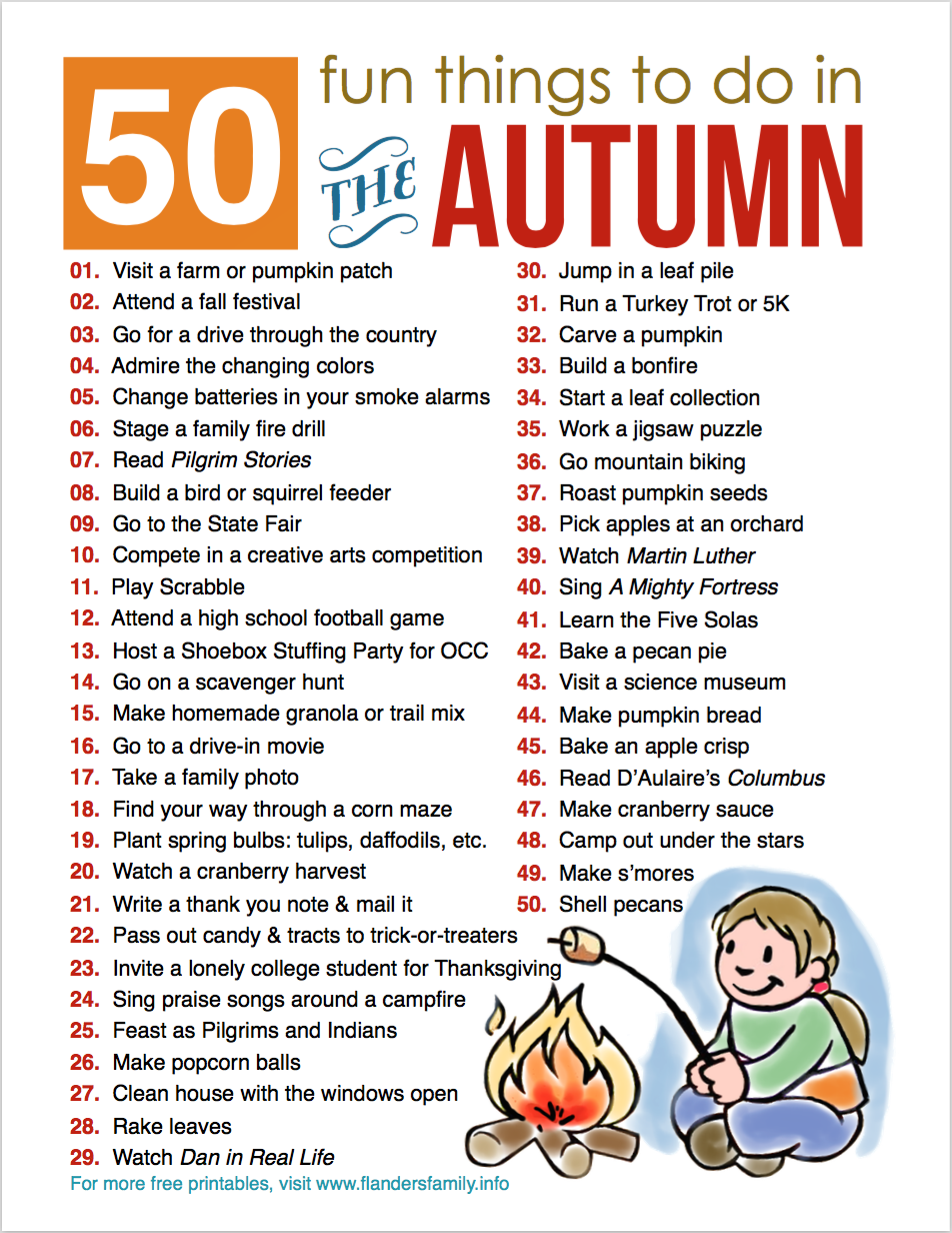 graphic relating to Fall Printable Activities called 50 Enjoyable Household Things to do for Drop (Totally free Printable