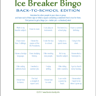 Ice Breaker Bingo: Back-to-School Version
