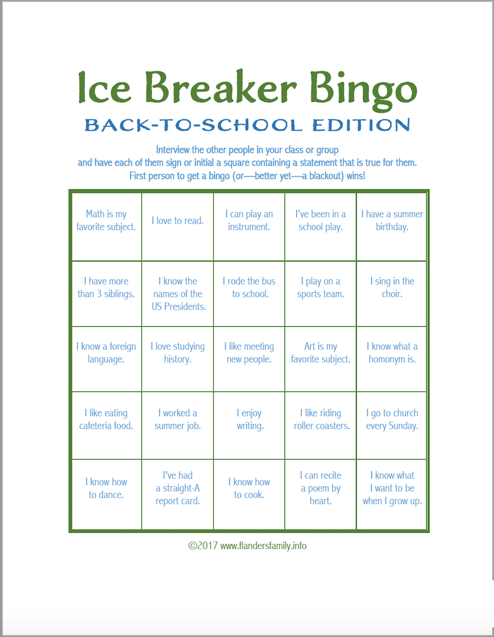 Free printable Ice Breaker Bingo: Back-to-School Version of the beloved classic