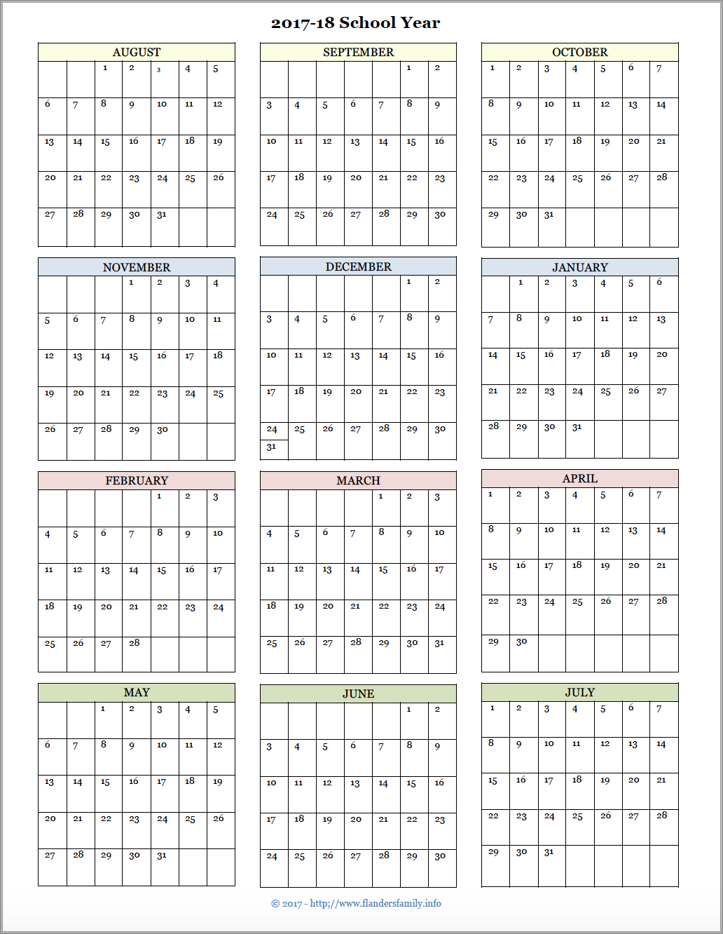 2017-2018 Academic Year Calendar with an August start date