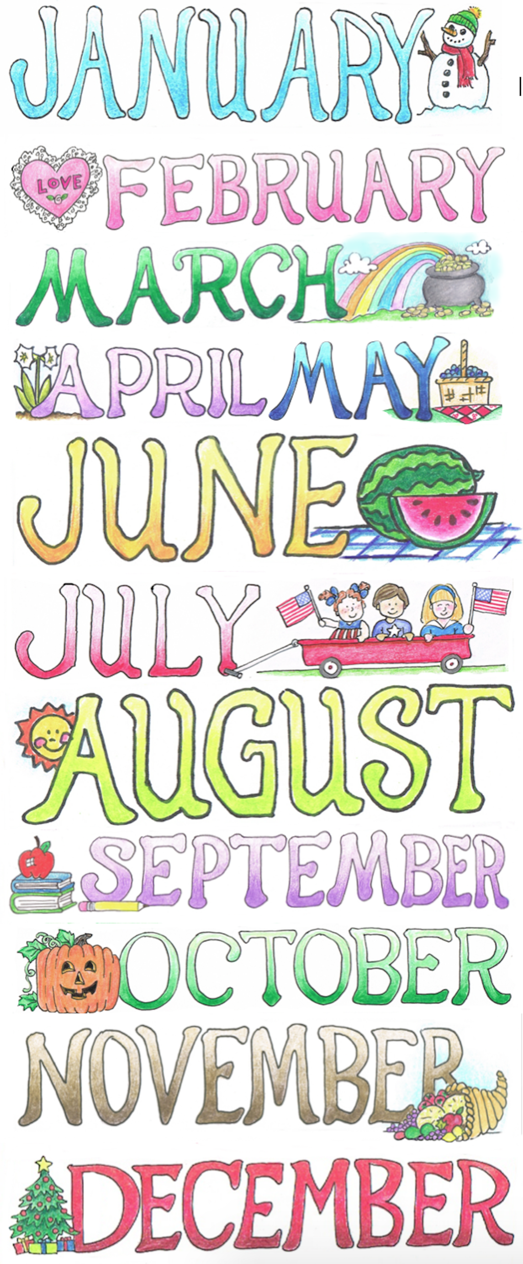 free printable month names