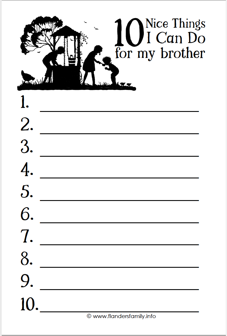 10 Nice Things I Can Do for My Brother (free printable)