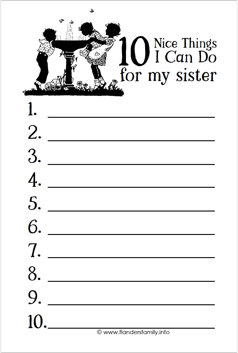 10 Nice Things I Can Do for My Sister (free printable)