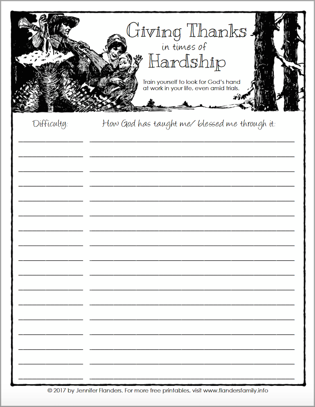 Learning to give thanks in the midst of trials and hardships (free printable)
