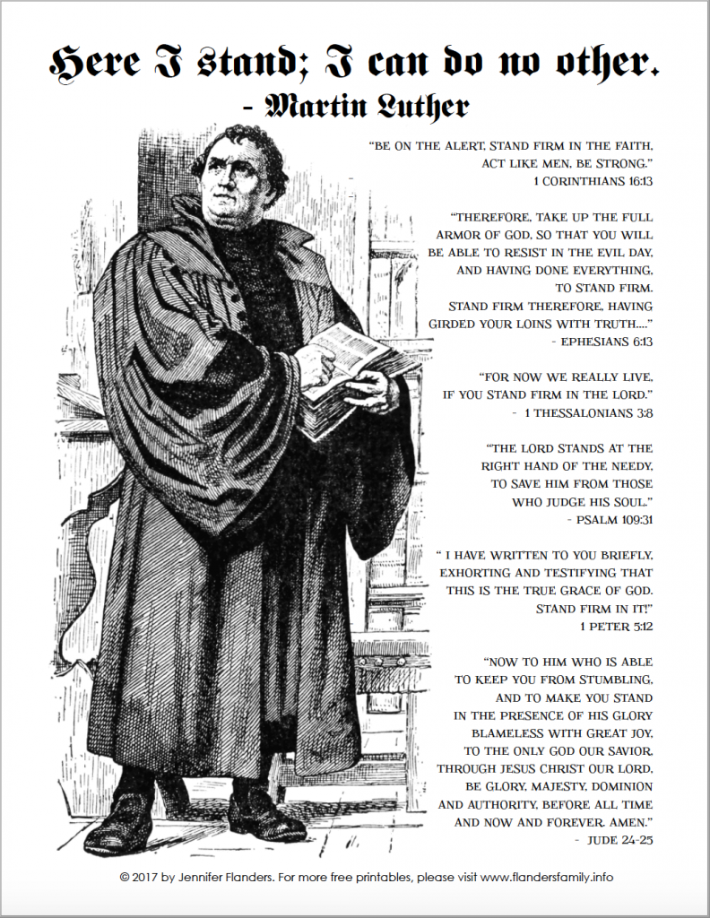 Reformation Day | Martin Luther | Printable Activity Pages