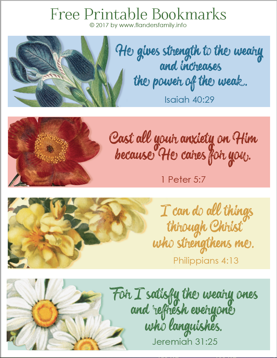 pretty printable scripture bookmarks - flanders family homelife