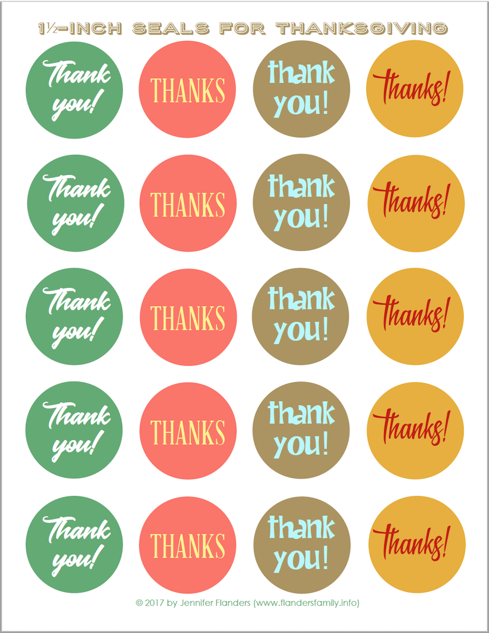 Free Printable Stickers/ Envelope Seals for Thanksgiving