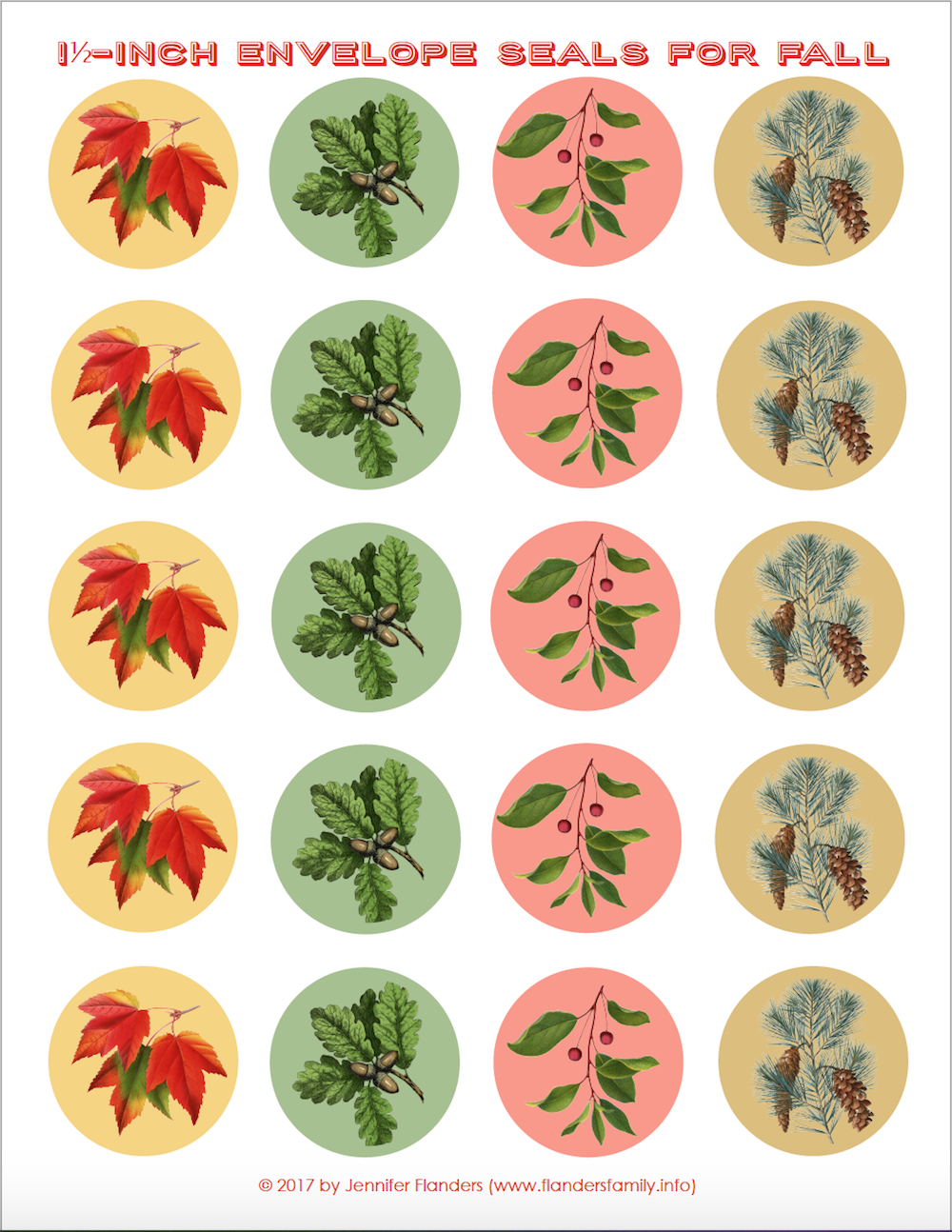 Free Printable Stickers/ Envelope Seals for Fall