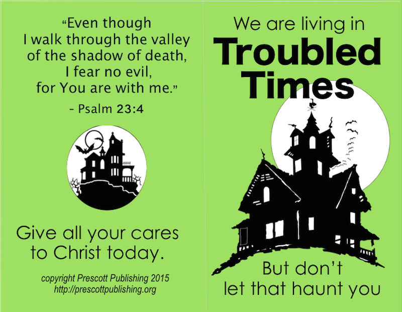 graphic relating to The Living Christ Free Printable called No Worry: No cost Printable Halloween Tracts - Flanders Loved ones