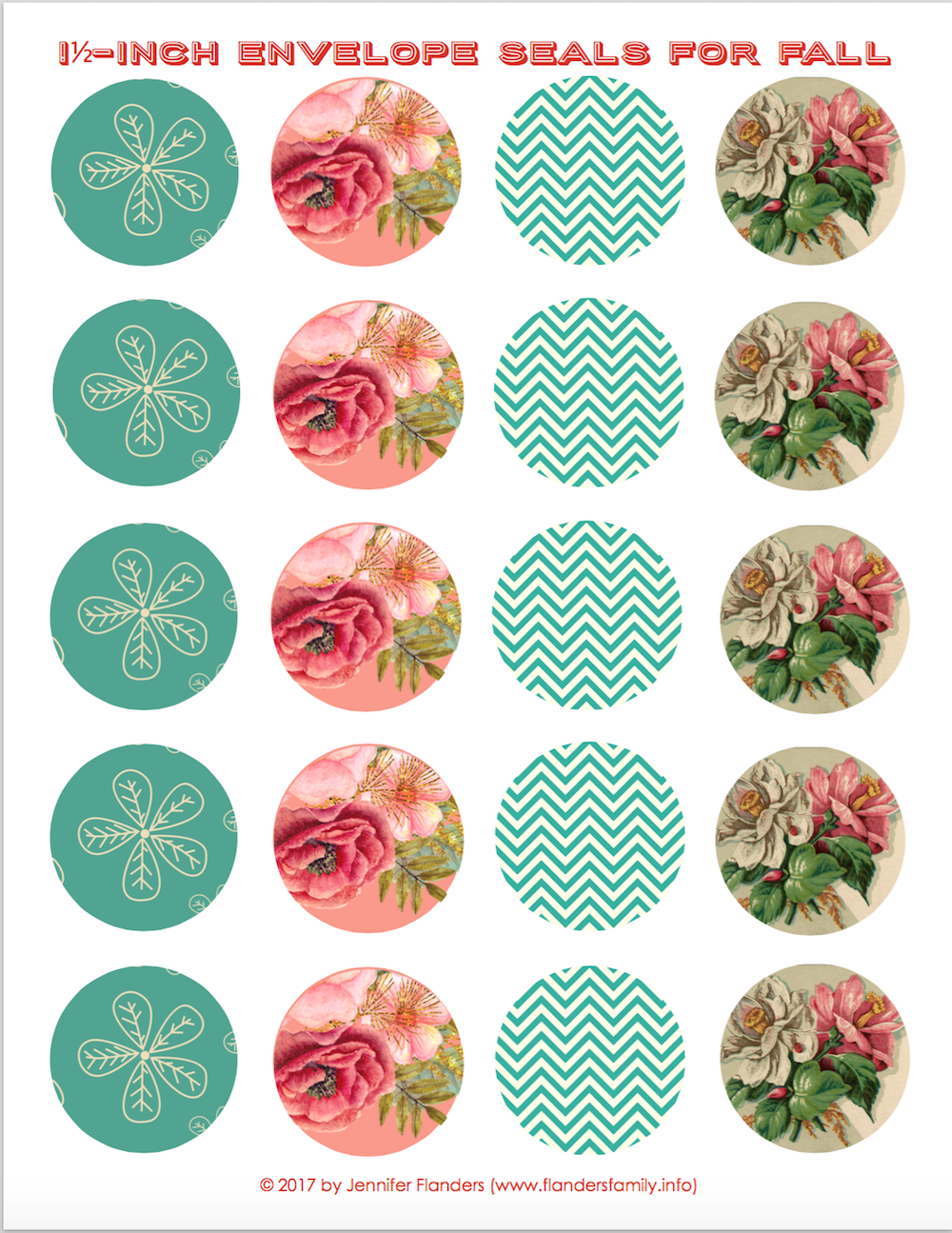 Beautiful! Free printable envelope seals (and coordinating cards) from www.flandersfamily.info