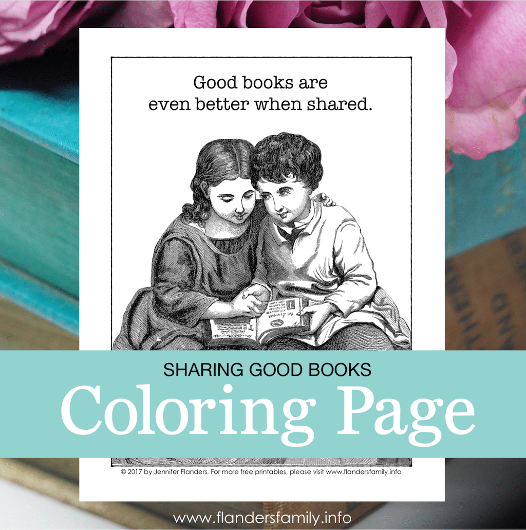Good Books are Better When Shared Coloring Page