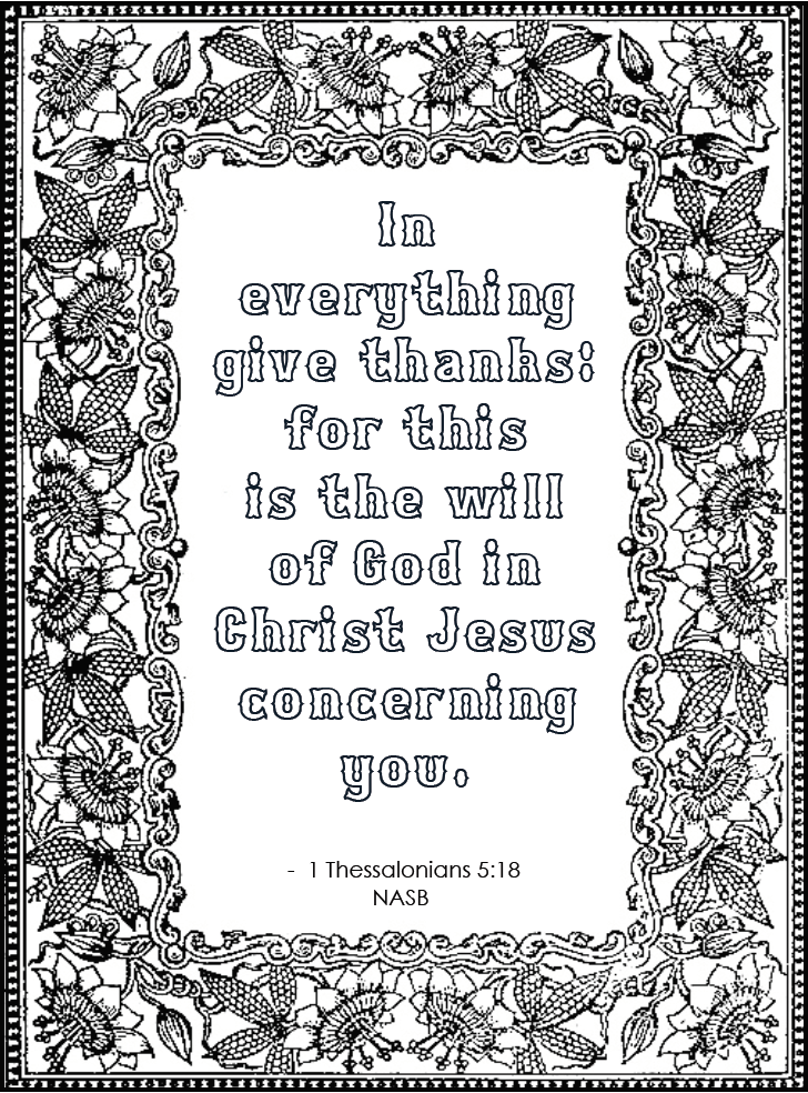 In Everything Give Thanks (Free printable coloring page)