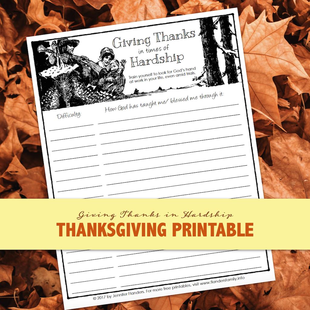 Thanks in Hardship Printable