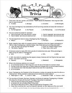 Free printable Thanksgiving Trivia Quiz -- challenge your family and friends!