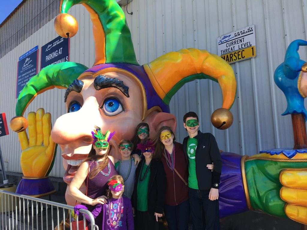 Flanders Family at Mardi Gras World