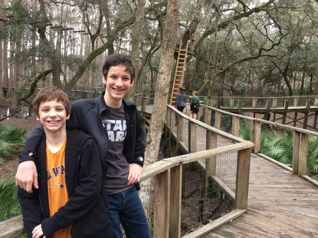 Isaac and Daniel enjoying the outdoor Tallahassee Museum
