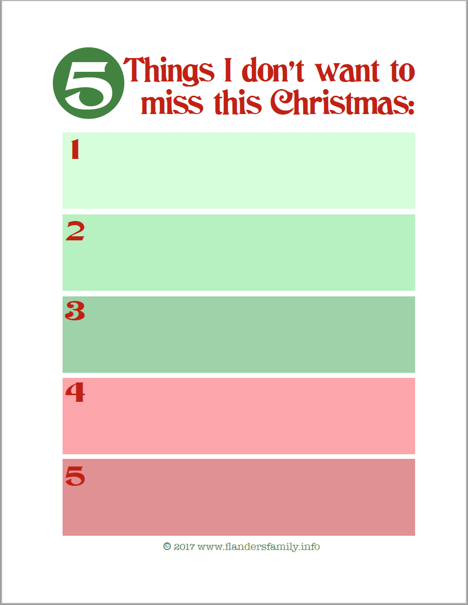 5 Things I Don't Want to Miss this Christmas (free planning printable)