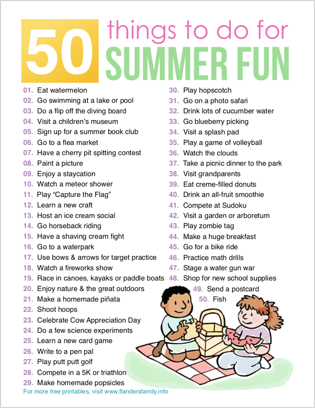 50 Things to Do for Summer Fun