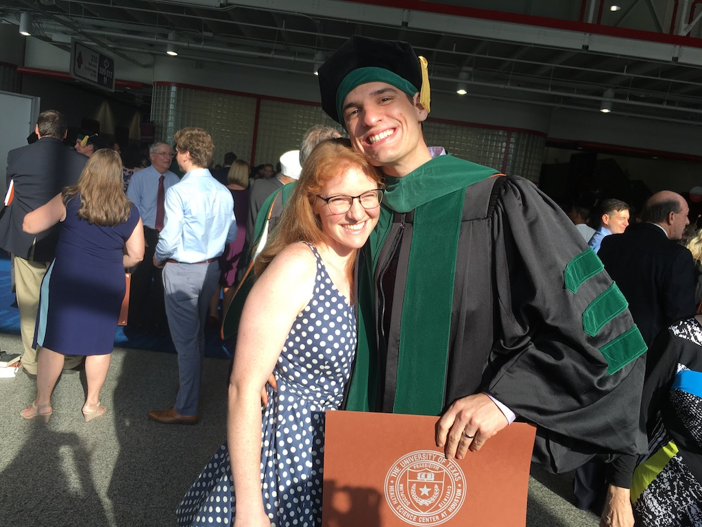 Samuel graduated from medical school four days after his wedding.